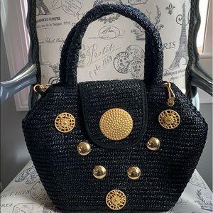 Handbags - Black Raffia style tote purse